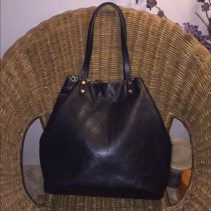 Handbags - Black cheetah lined large faux leather tote